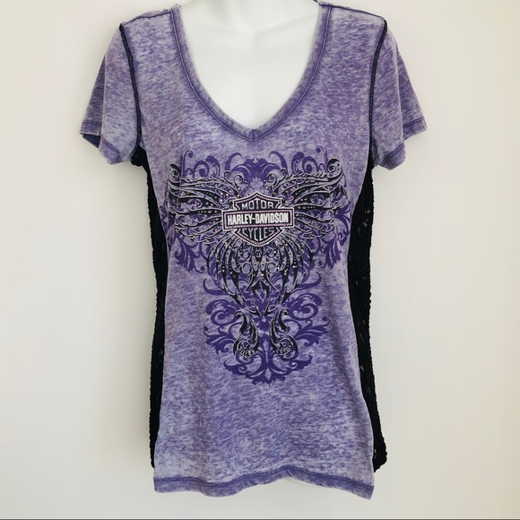 Women's Harley Davidson T-Shirt Burnout Lace Large